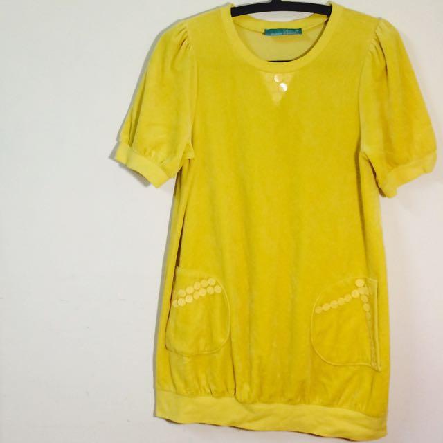 黃色長版上衣