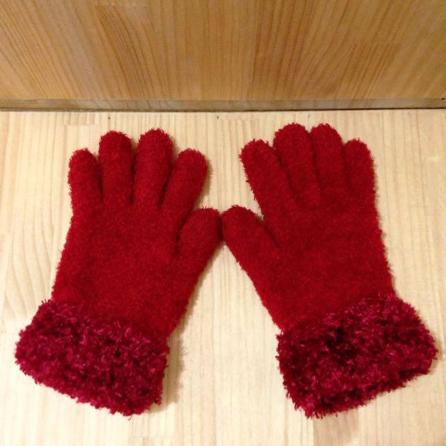 大紅毛毛手套