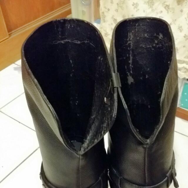 黑色真皮個性款膝上靴