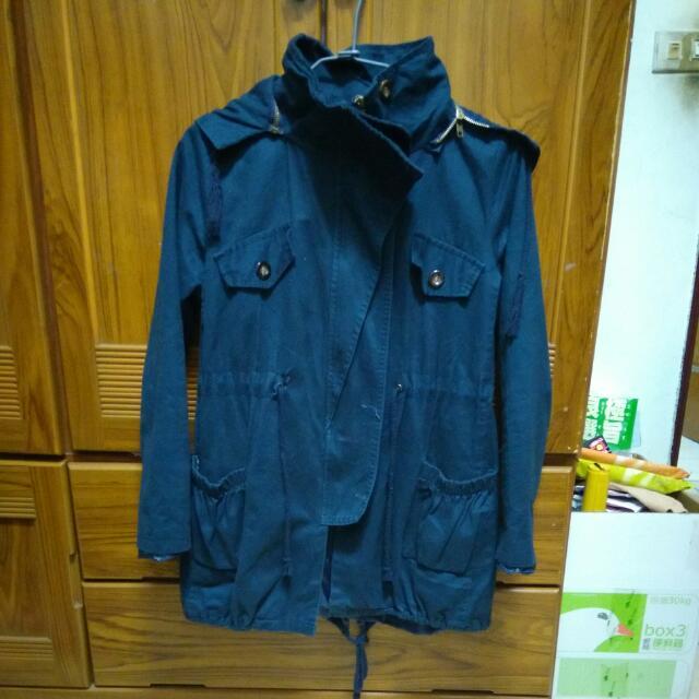 抽繩風衣長版外套