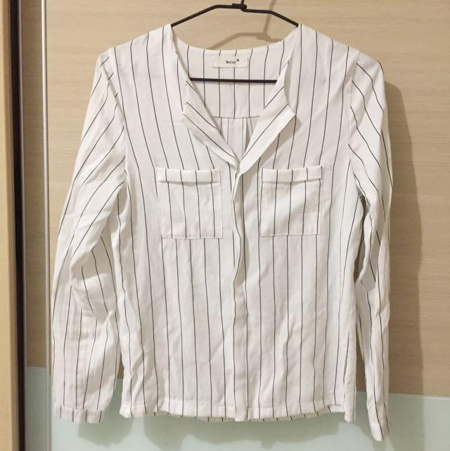 條紋長袖襯衫