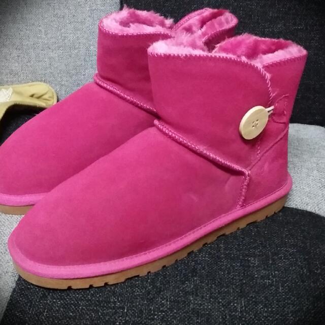 韓製 粉色絨毛雪靴