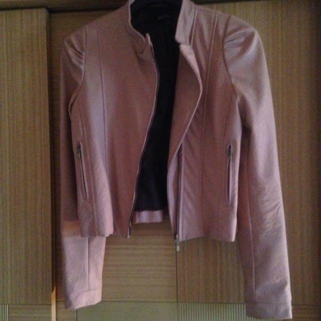 韓 粉藕色皮衣外套