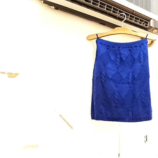 古著 寶藍針織短裙