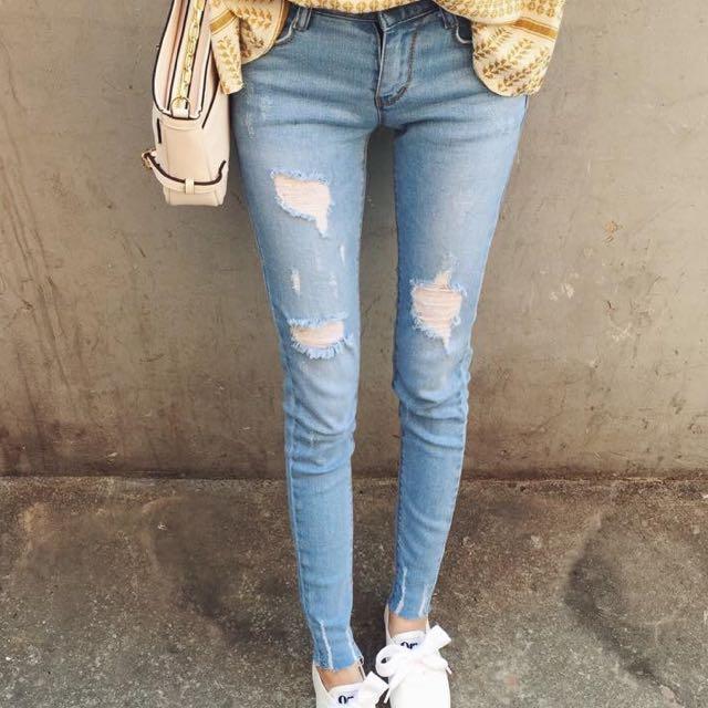 淺色破褲牛仔褲 全新