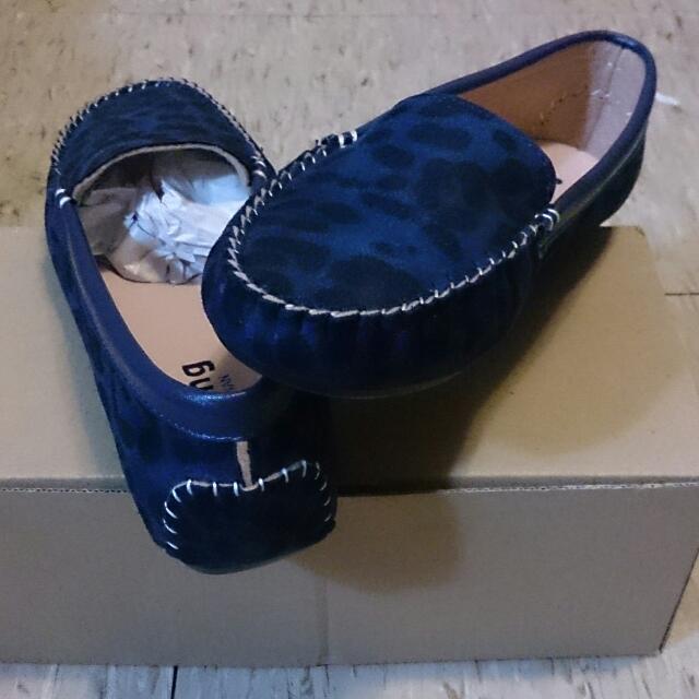 全新 豹紋絨布平底鞋 藍