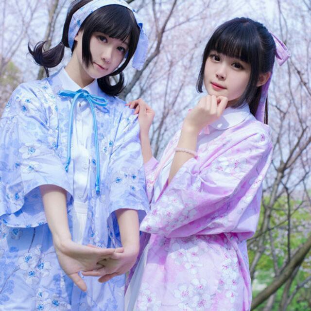 全新 櫻花和服外套 粉 (附髮帶 可當腰帶)