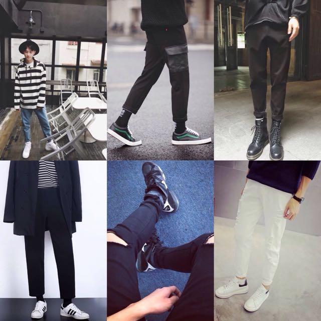 男褲 窄褲 寬口褲 五分褲 寬褲 刷破褲