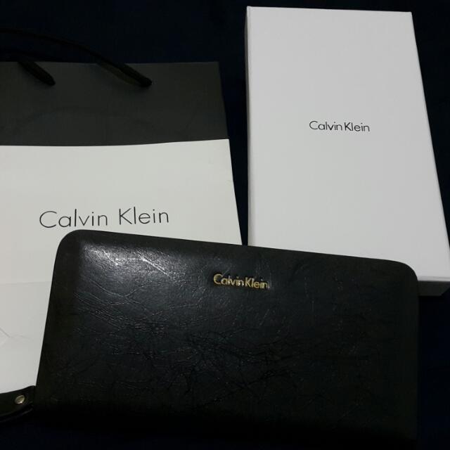 全新正品 Calvin Klein/CK 黑色真牛皮長夾 手拿包
