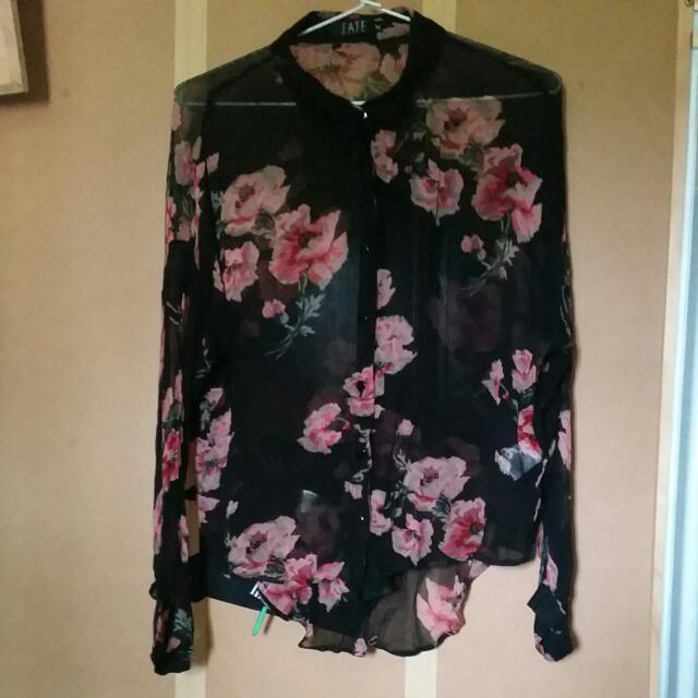 Black Floral Button Up Shirt Size 14