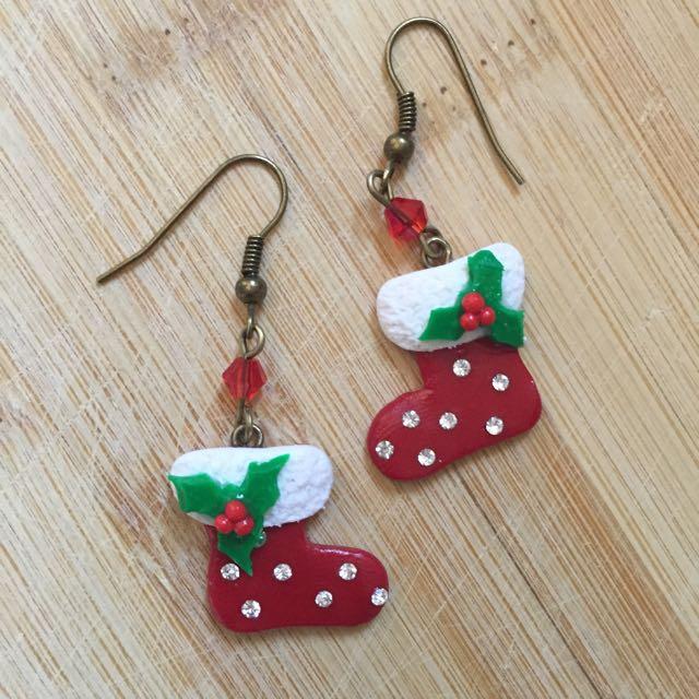 Polymer Clay Christmas Earrings.Christmas Earrings Christmas Stocking Earrings Socks