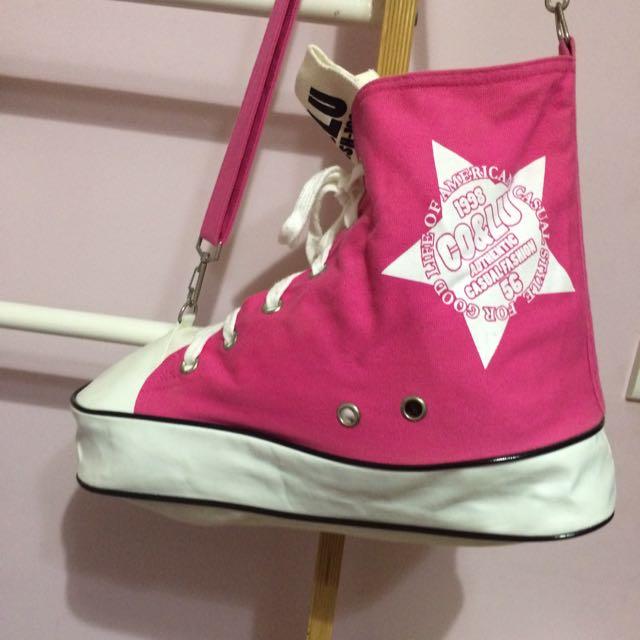 cocolulu粉色帆布鞋包