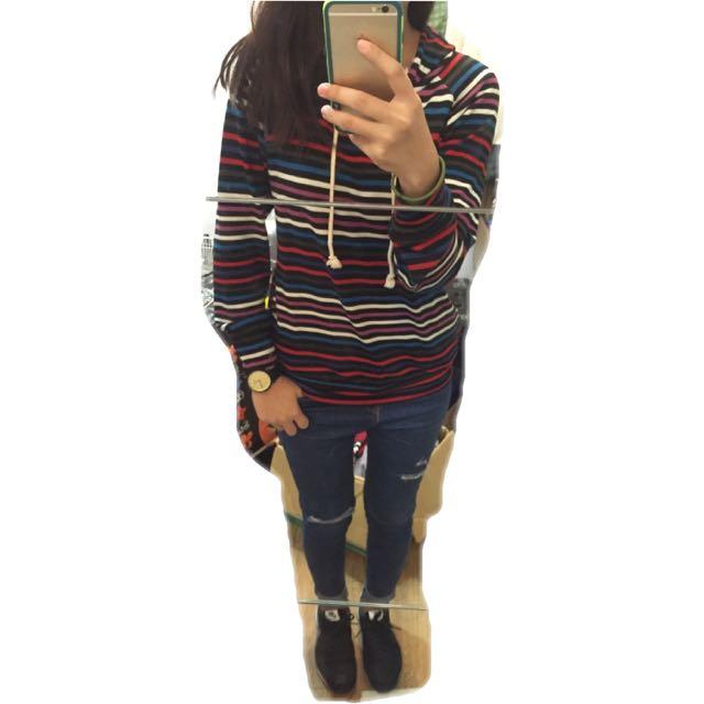 Fi二手衣物🍭可愛の彩條帽T