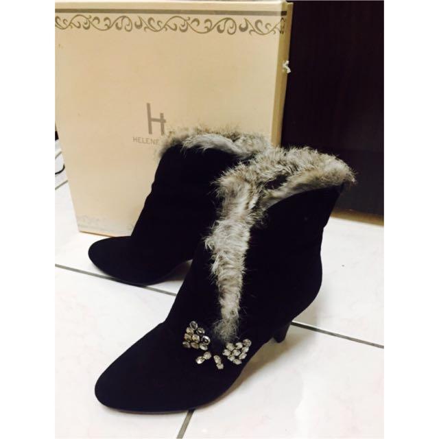 Helene Spark 鋪毛低跟短靴(全新品)