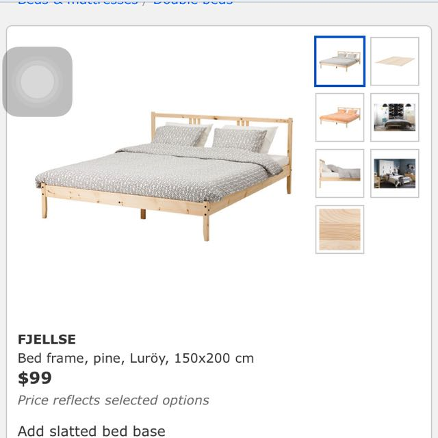 Ikea Fjellse Queen Size Bed Frame With Luroy Slatted Base Furniture