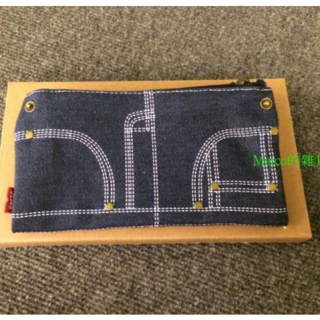 Levi's牛仔布款多功能零錢包 收納袋 文具袋 萬用袋.