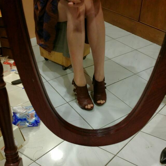 專櫃NINE WEST 咖啡色真皮踝靴