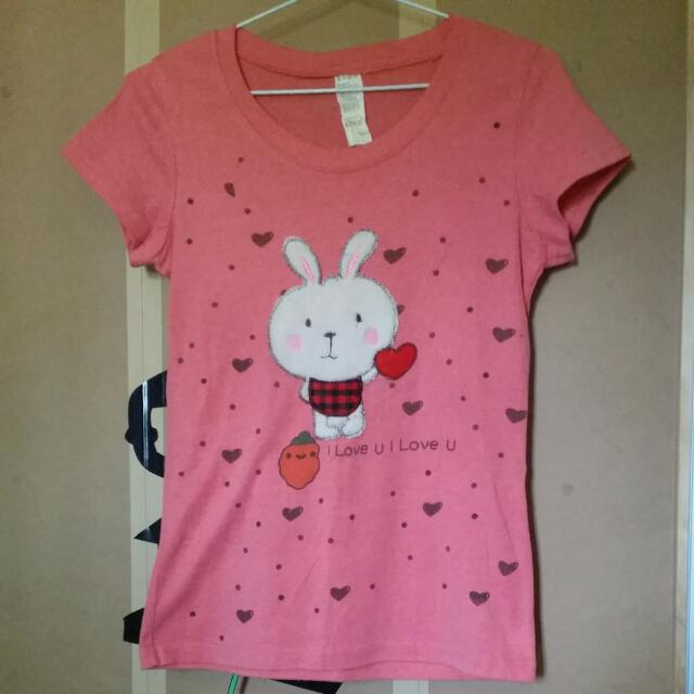 Pink/coral Bunny T-Shirt Size Small