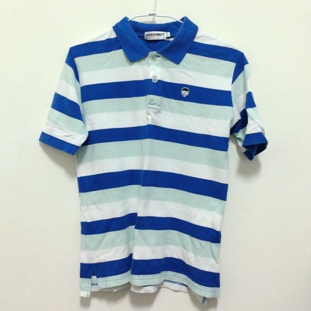 橡皮人藍色橫條polo衫