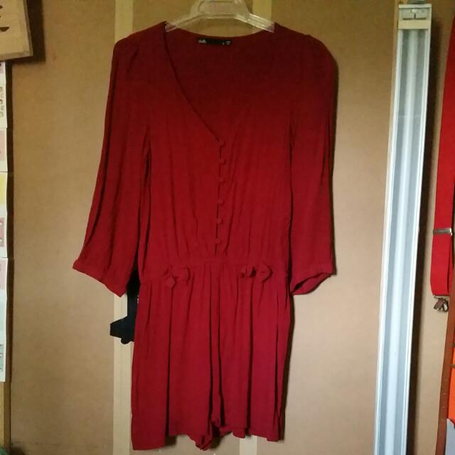 Red Playsuit Size 8