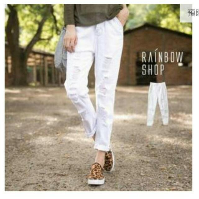 (全新)白色刷破牛仔褲S號👖