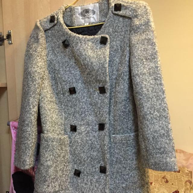 Scolar 灰色雙排扣毛呢大衣外套