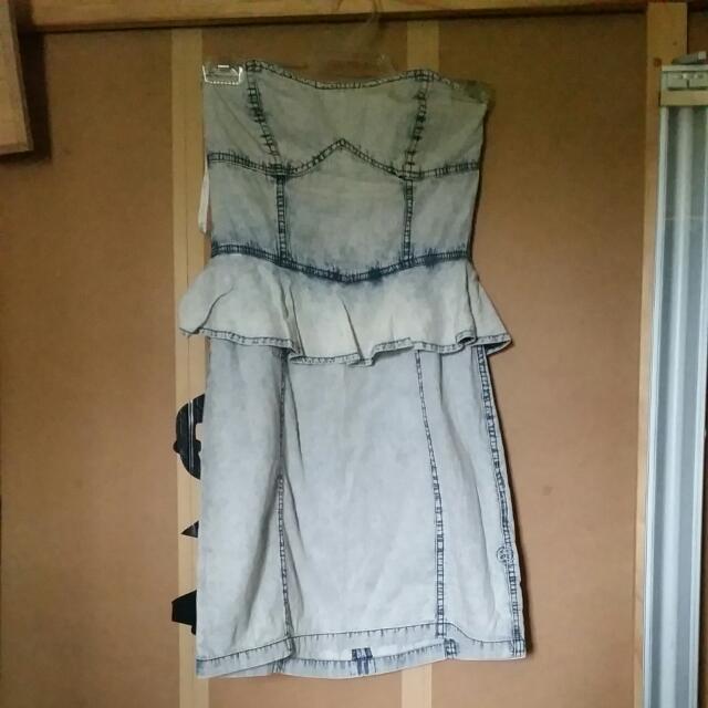 Stussy Denim Summer Peplum Dress Size 8