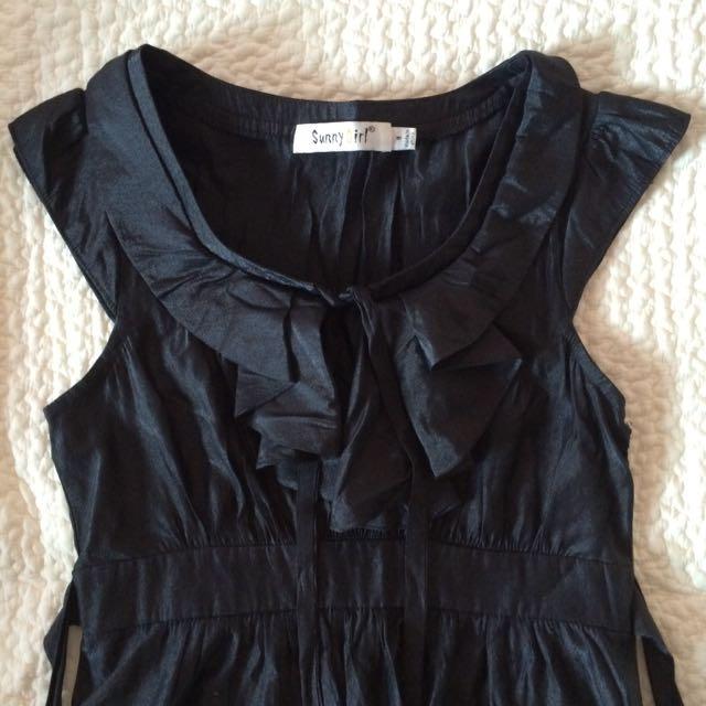 Sunny Girl Black Sheen Dress