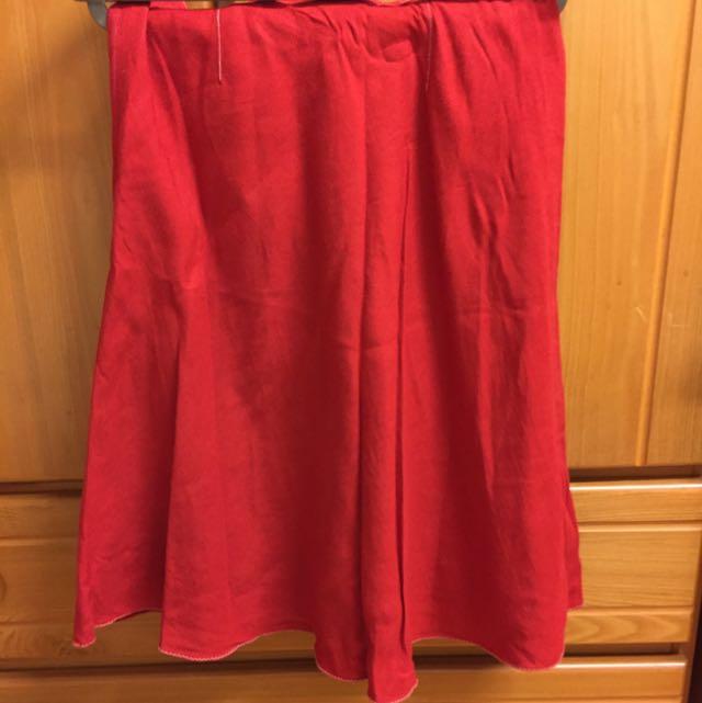 Udb紅色A Line 短裙 聖誕節應景
