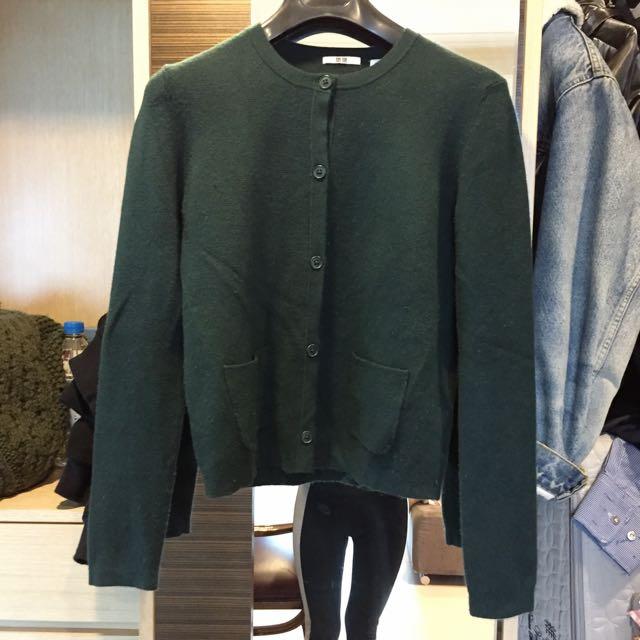 Uniqlo開襟毛衣(墨綠色)