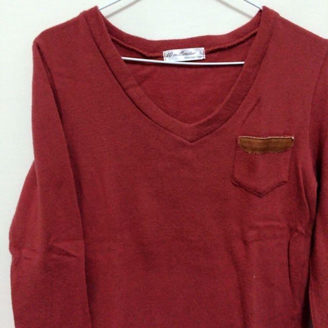素面大V領上衣(橘紅色)