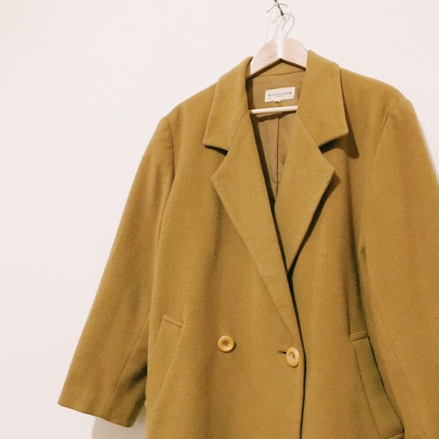 💛vintage芥末黃大衣