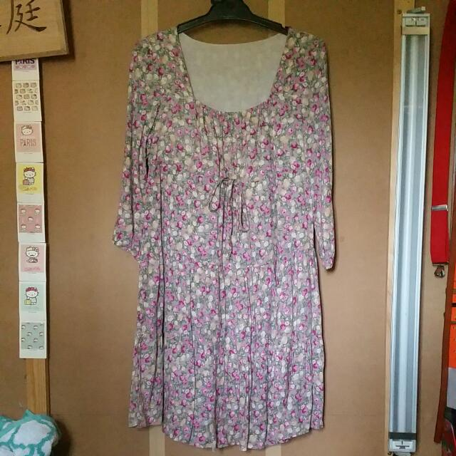 Vintage Boho Floral Summer Dress Size S/M