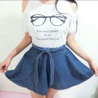 •降價•半身裙鬆緊設計牛仔裙單寧裙個性素色綁帶假蝴蝶結偽百摺麻花