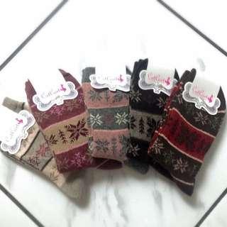 (聖誕禮物現貨)雪花羊毛襪子袋組