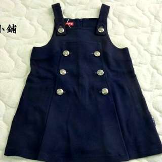 WHY AND 1/2學院風深藍色A字背心裙洋裝 適合7-8歲小女孩115-125CM 特價