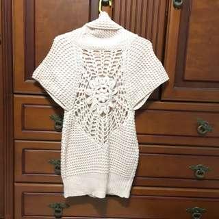垂領網狀長版針織毛衣