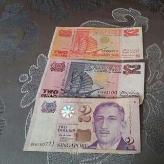 Old Sg $2 Notes (Hard To Find)