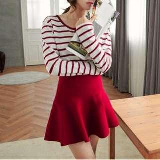 全新轉賣韓風可愛舒適無縫細腿彈性針織高腰大圓裙酒紅色