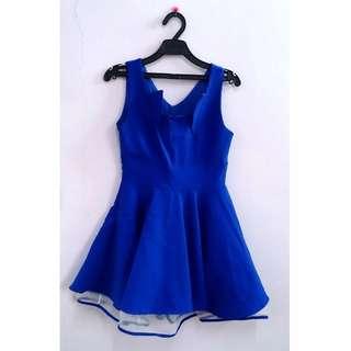(免運)寶藍色蓬裙洋裝