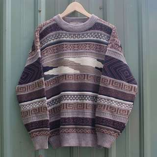🚚 vintage Canismiliaris 北歐幾何立體古著毛衣 sw-04