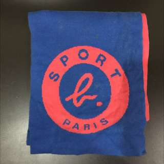 agnes b sport b 經典Logo圍巾 二手 藍粉紅配色