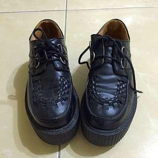 二手 英倫 黑色厚底鞋