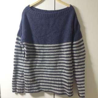 九成新 藍灰條一字領毛衣