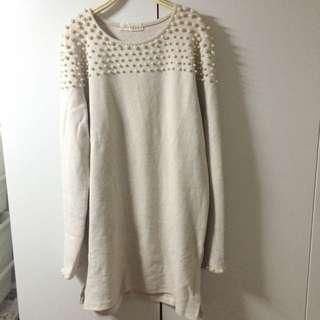 全新 正韓珍珠米色長版洋裝