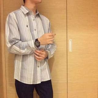 二手 長袖條紋襯衫