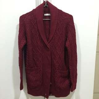Lowrys Farm酒紅針織羊毛開襟衫
