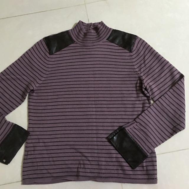 紫色條紋針織衫
