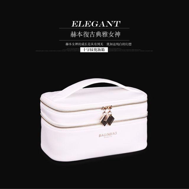 小瑕疵出清-赫本風純白大容量雙層化妝包
