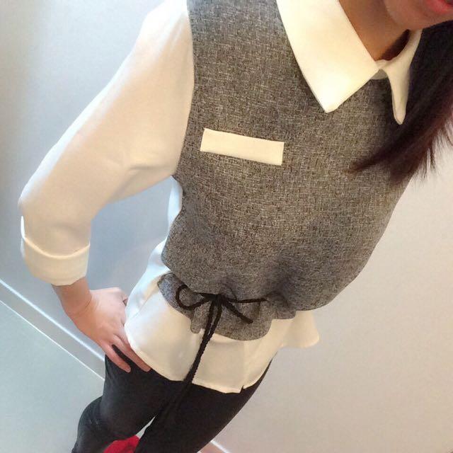 雙色拼接襯衫(不含腰帶)